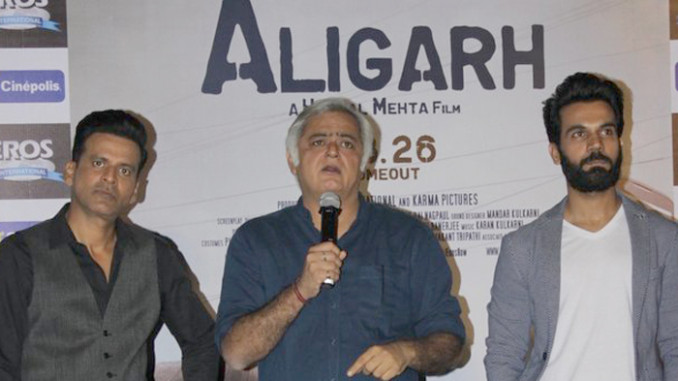 Manoj Bajpayee, Hansal Mehta, Rajkummar Rao at the trailer launch of Aligarh