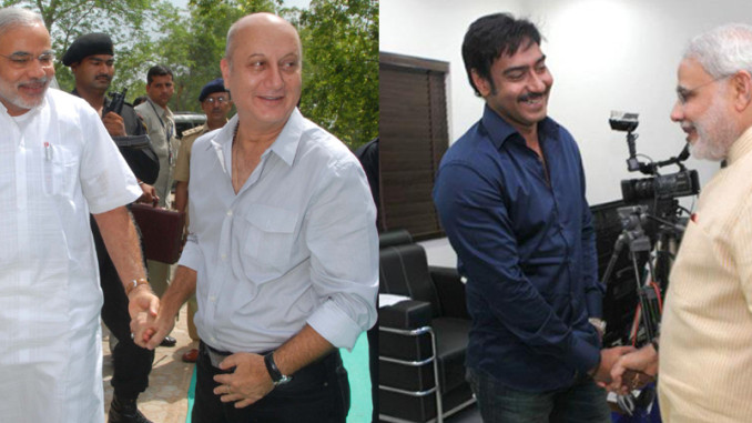 PM Narendra Modi with Anupam Kher and Ajay Devgn