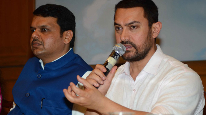 CM Devendra Fadnavis, Aamir Khan at the launch of Satyamev Jayate Water Cup