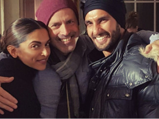 Deepika Padukone, D J Caruso and Ranveer Singh on the sets. Image Courtesy: Twitter