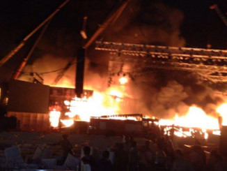 Fire at Make In India event. Image Courtesy: Twitter