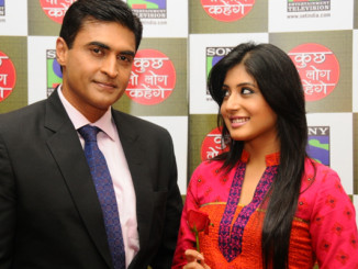 Kritika Kamra with Mohnish Behl during the launch of Kuch Toh Log Kahenge