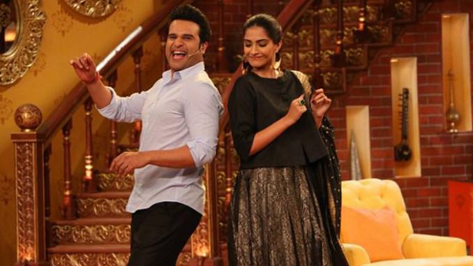Krushna Abhishek, Sonam Kapoor on Comedy Nights Live. Image Courtesy: Twitter