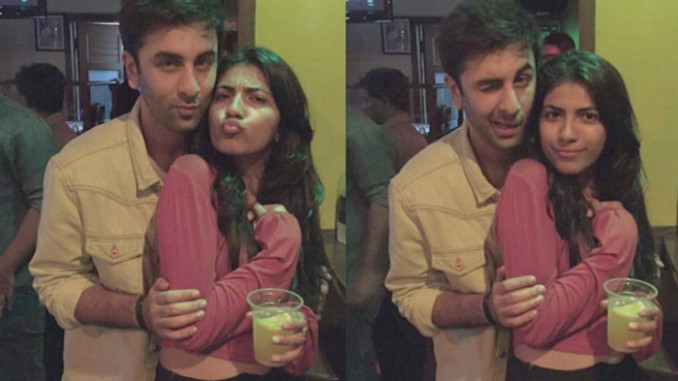 Ranbir Kapoor with 'mystery woman'. Image Courtesy: Twitter