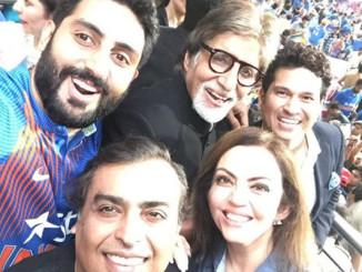 Abhishek Bachchan, Amitabh Bachchan, Sachin Tendulkar, Nita and Mukesh Ambani enjoying the match in Kolkata