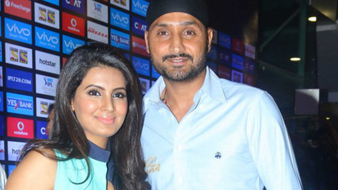 Pregnant Geeta Basra with Harbhajan Singh at IPL 2016 opening ceremony