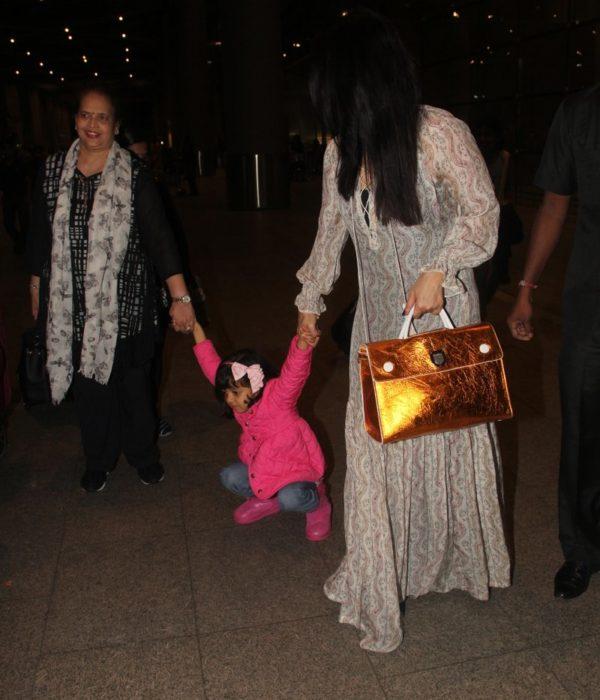 Aaradhya, Aishwarya Bachchan return from Cannes