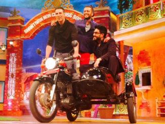 Akshay Kumar, Riteish Deshmukh, Abhishek Bachchan on The Kapil Sharma Show. Image Courtesy: Twitter