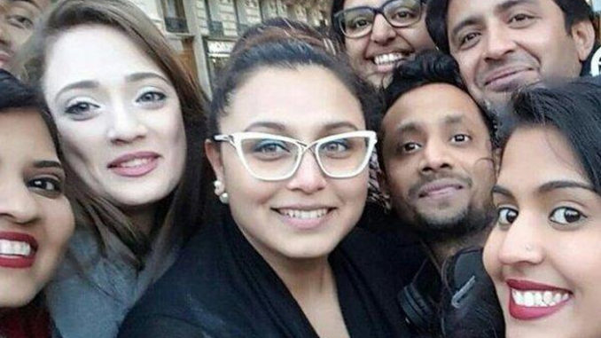 Rani Mukerji clicked with fans in Paris. Image Courtesy: Twitter