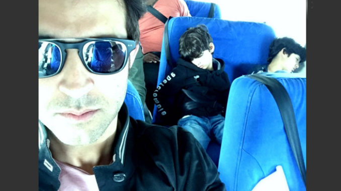 Hrithik Roshan eroute to Africa with Hrehaan, Hridhaan. Image Courtesy: Twitter
