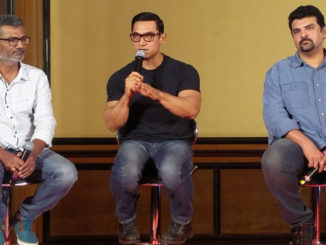 Nitish Tiwari, Aamir Khan, Sidharth Roy Kapur at the poster launch of 'Dangal'