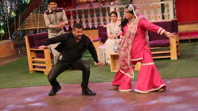 Salman Khan performs a dance step from 'Sultan' with Begum on The Kapil Sharma Show