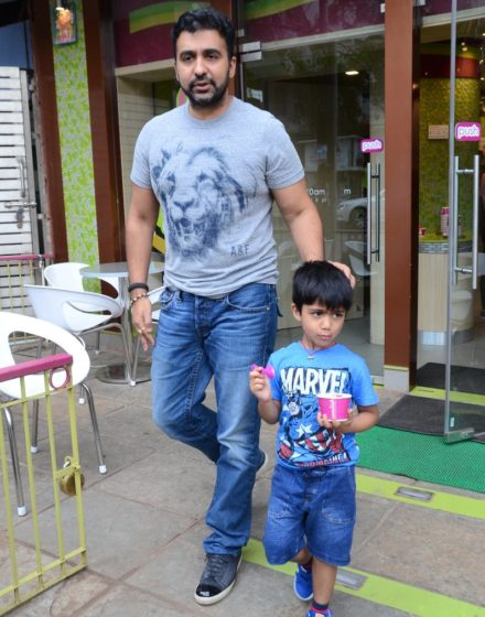 Snapped: Shilpa Shetty, Raj Kundra with family post lunch at