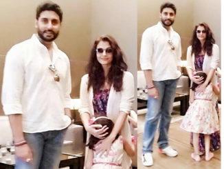 Abhishek, Aishwarya, Aaradhya Bachchan clicked in Dubai. Image Courtesy: Twitter