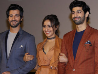 Neha Sharma with co-stars at the launch of Tum Bin 2