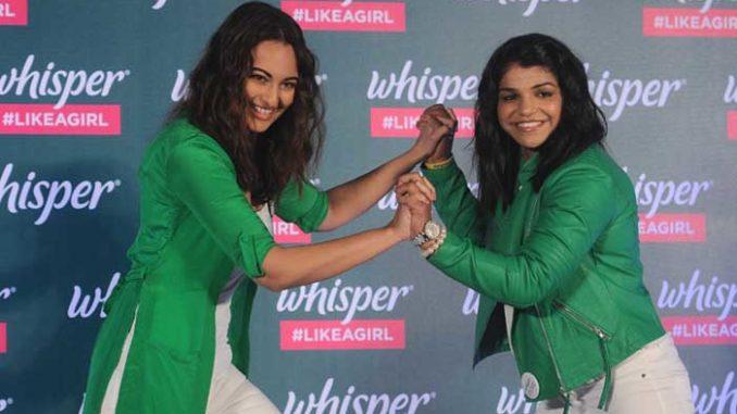 Sonakshi Sinha, Sakshi Malik at a promotional event