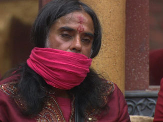 Om Swami's mouth is tied shut
