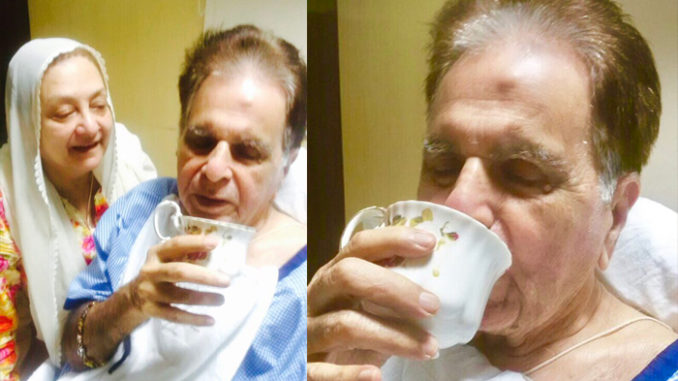 Saira Bani, Dilip Kumar in the hospital. Image Courtesy: Twitter