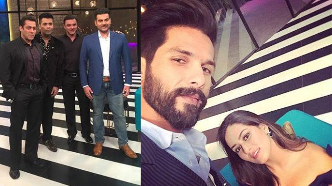 Salman, Arbaaz, Sohail Khan with Karan Johar; Shahid Kapoor, Mira Rajput on the sets of Koffee with Karan
