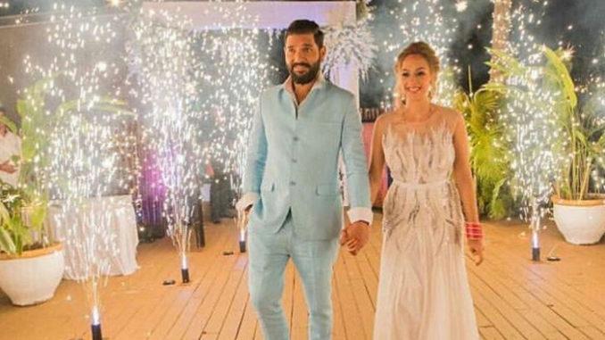 Yuvraj Singh with wife Hazel Keech after their wedding in Goa