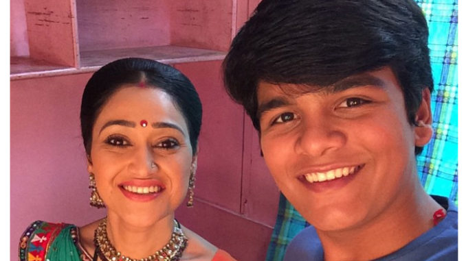 Bhavya Gandhi aka Tapu with his onscreen mother Daya. Image Courtesy: Instagram
