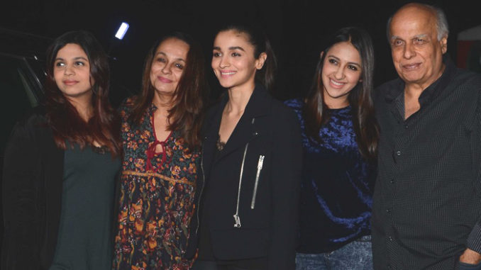 The Bhatt family at Badrinath Ki Dulhania screening