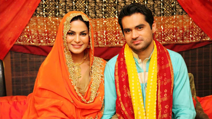 Veena Malik, Asad Bashir Khan. Image Courtesy: Twitter