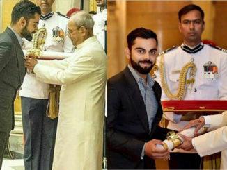 Virat Kohli receives the Padma Shri. Image Courtesy: Twitter