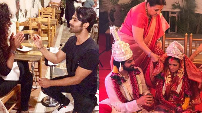 Ashmita Patel proposes Maheck Chahal; Riya Sen ties the knot with Shivam Tewari. Image Courtesy: Instagram