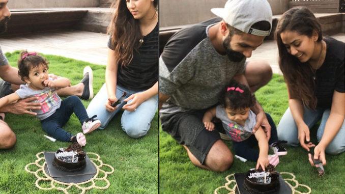Shahid Kapoor, Mira Rajput with daughter Misha. Image Courtesy: Instagram