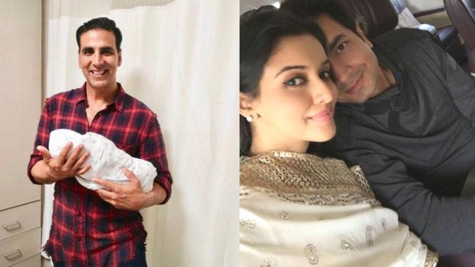 Akshay Kumar with Asin's baby; Asin with husband Rahul Sharma