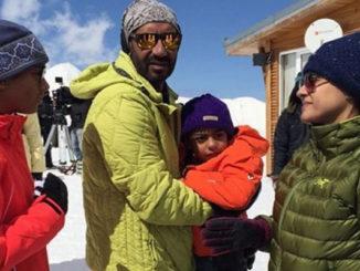 Kajol, Ajay with Yug and Nysa