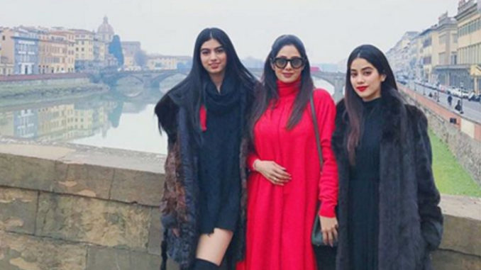 A file photo of Sridevi with daughters Janhvi and Khushi