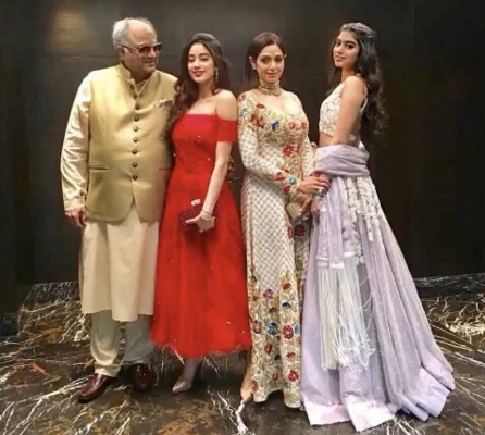 A file photo of Sridevi with Boney Kapoor, Janhvi and Khushi