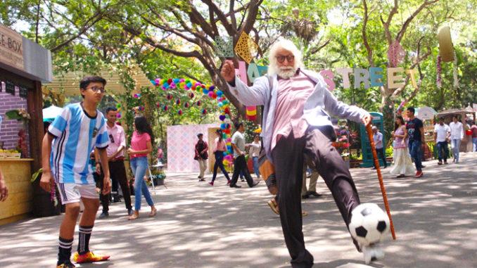 Amitabh Bachchan plays football with kids