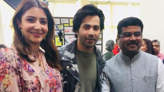 Anushka Sharma, Varun Dhawan and Dharmendra Pradhan